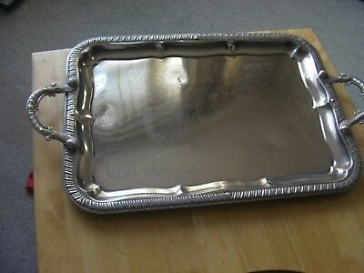 Large Vintage silver plate epns serving tray, Twin Handled 46cm x 33cm, vgc