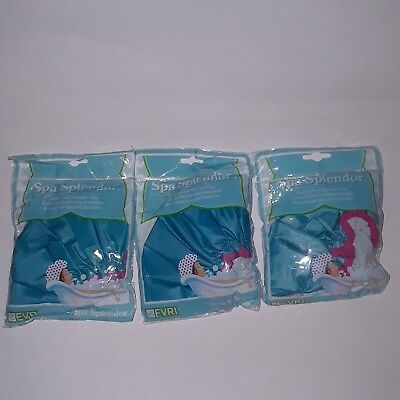 3 Evri Spa Splendor Waterproof Shower Caps Turquoise Oversized to Fit Long Hair
