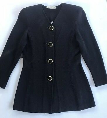 st john by marie gray navy blue jacket knit blazer top Made In USA (O)