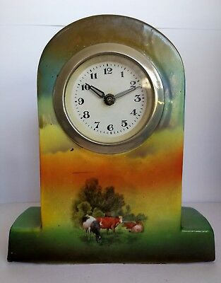 Unusual Ceramic Vintage Mantel Clock For Restoration