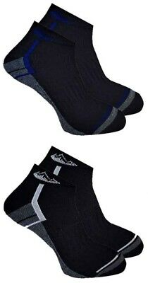 2 Pairs Mens Prohike Black Grey Blue Cushioned Trainer Sports Socks, Size 6-11