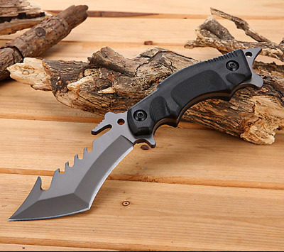 Full Tang Straight Fixed Blade Serrated Knife Tactical Survival Climbing sheath
