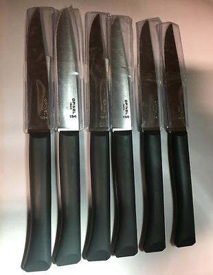 lot de 6 couteaux de table OPINEL BON APPETIT GRIS ANTHRACITE LAME MIVRODENTEE