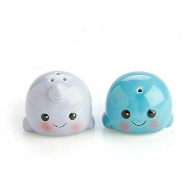 2pc Whale Narwhal Salt and Pepper Shakers Collectables - Gift Boxed