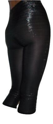 Damen Capri Leggings Leggings Raffungen 3/4 Leggins Schwarz mit Lurex  Gr.36-40S