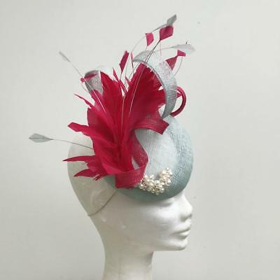 blue and pink fascinator