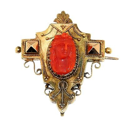 (1824) 19th century gold and coral cameo brooch.