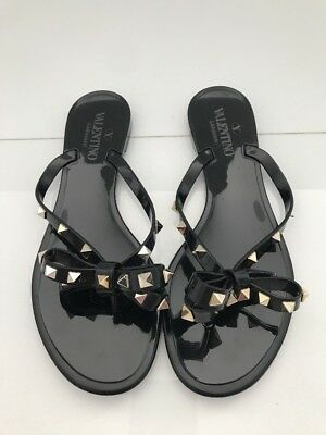 5a4516fe54195a VALENTINO BEIGE JELLY Gold  Rockstud  Thong Sandal Flat Shoe Flip ...