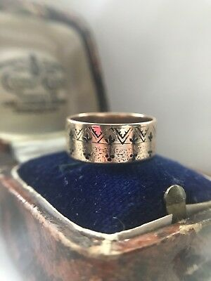 Beautiful Antique Victorian 14k Rose Gold Enamel Wide Band Ring