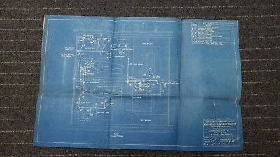 """(P115) Original 1918 Blueprint Drwg 16"""" x 24"""" - Exhaust Pipes in Engine & Boiler"""