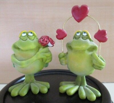 2 Rare Douglas Original Fun Lover Art Frog Couple Vintage Figures Hearts Roses