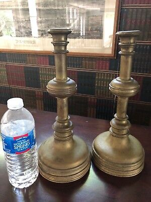 Antique Primitive Pair of Solid Heavy Brass Candle Sticks Marine Shape NICE!