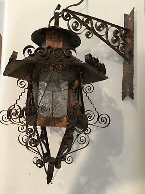 PAIR Vintage Mission Arts Crafts Copper Hanging Wall Sconce Lamp Spanish Revival
