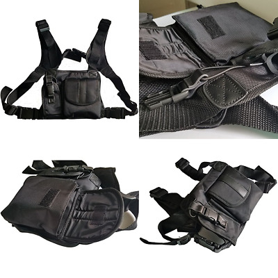 Universal Hands Free Chest Harness Bag HolsterFor Two Way Radio Rescue Essentia
