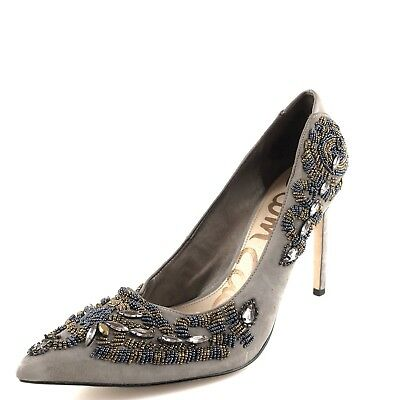 5e899cc0355c51 SAM EDELMAN DANI Grey   Jewels  Bead Suede Pointy Toe Pump Sz. 5 US ...