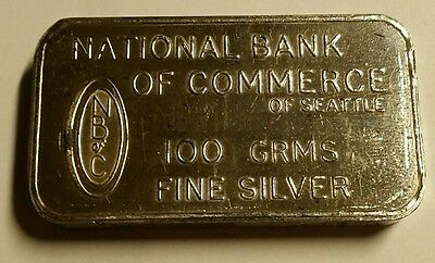Johnson Matthey London National Bank of Commerce Seattle 100 Gram Silver Bar