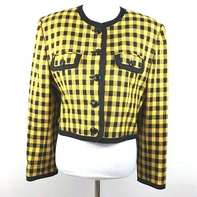 Womans JH Collectibles Blazer Jacket Size 12 Yellow Plaid Shoulder Pads Clueless