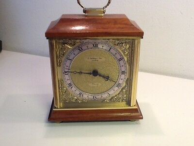 Vintage Reproduction Style Brass & Wood Carriage Bracket Clock,battery operated