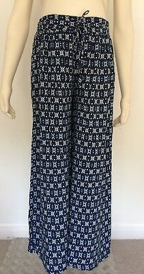 [409] New Look Maternity Cropped Wide Leg Trousers Blue/Black Size 14