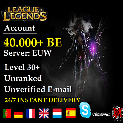 League of Legends Account LOL | EUW | Level 30+ | 40.000+ BE | Unranked