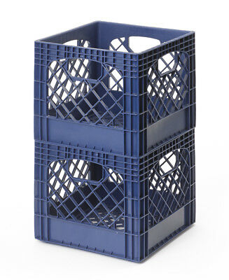 Milk Crate Storage Bins Stackable Navy Blue 2-Pk Fast Free Shipping Made In Usa