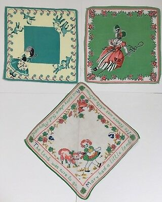Lot Of 3 Children's Hankies All 3 Are Mary Had A Little Lamb Excellent Used Cond