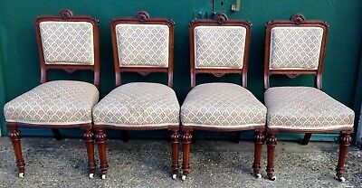 Four Beautiful Carved Antique Victorian Mahogany Dining Chairs