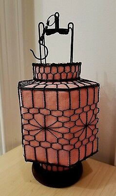 Asian Chinese Pink Fabric w/ Brn/Blk Wired Hexagon Lantern Wood Base *Lovely*