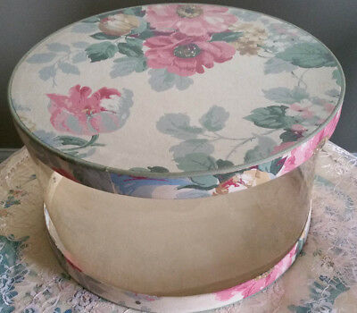 Vintage Wall Papered Rose Hat Box Floral Design Clear Body Floral Print Shabby