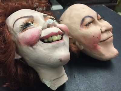 Vintage Marionette Heads Of Daddy Warbucks And Miss Hannigan