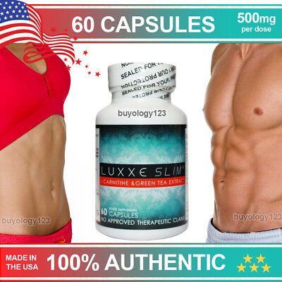 60 Luxxe Slim L-Carnitine & Green Tea Extract Capsules Pills Fat Weight Loss