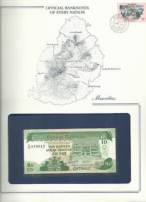 Banknotes of Every Nation Mauritius 1985 10 Rupee UNC P 35b Prefix A/68 Green UV