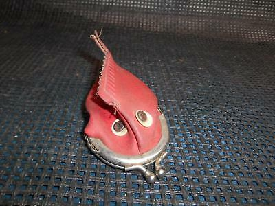 Old Vtg WIDE MOUTH FISH COIN PURSE Change Bag Big Eyed Red White Fashion Wallet