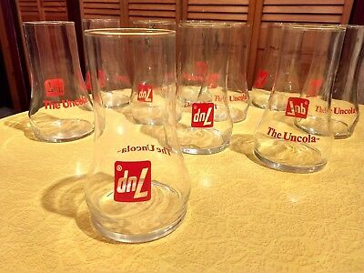 Vintage 7 UP The Uncola Upside Down Advertising Glass Tumbler