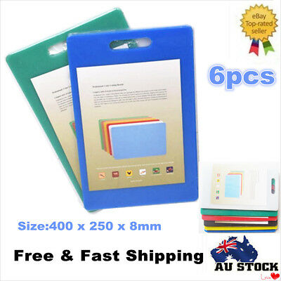 6 x Thick 8mm Polyethylene Cutting Board Assorted Color Coded 400 x 250mm NEW