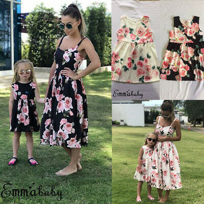 AU Family Clothes Mother Daughter Matching Summer Baby Girl Floral Dress Outfit