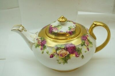 Royal Chelsea Golden Rose Teapot English Fine Bone China Gold Gilt Excellent