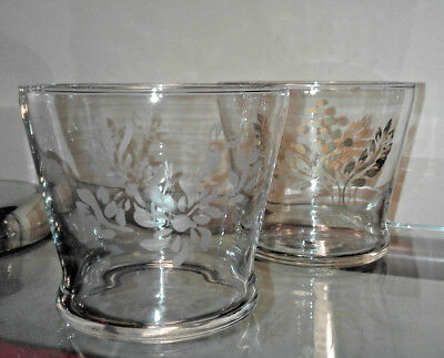 two clear glass home interior votive cup candle holder w etched