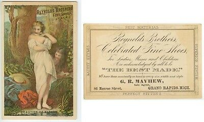 c1880s Reynolds Brothers Shoes trade card - Grand Rapids Michigan G R Mayhew