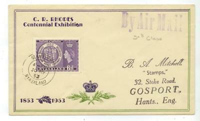 1953 Nyasaland Centennial Exhibition - Air Mail 2nd Class - cover