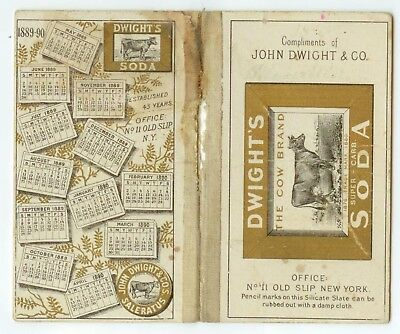 1889 Dwight's Cow Brand Soda trade card writing tablet with calendar
