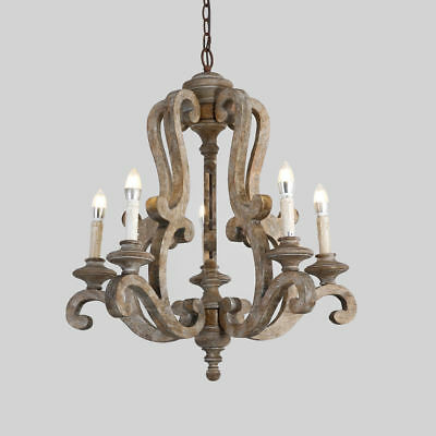 Cottage Style Pendant Lamp 5-Light Candelabra Chandelier with Scrolled Arm Brown