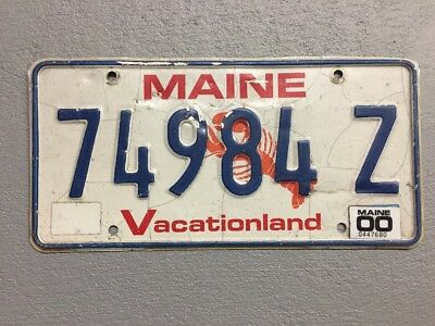 """Maine """"Lobster"""" License Plate """"Vacationland""""  74984Z  2000"""