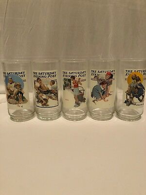 "Arby's Norman Rockwell ""the Saturday Evening Post Glasses Set Of 5"
