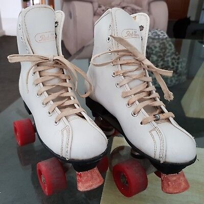 Vintage Retro 1970s Red Stone Roller Skates White Boot Red Wheels Europe Size 35