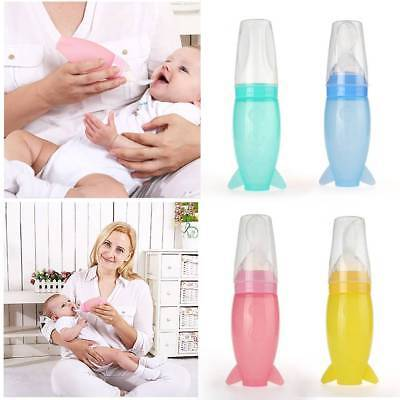 1Pcs Baby Silicone Squeezing Feeding Spoon Safe Food Supplement Feeder Spoon