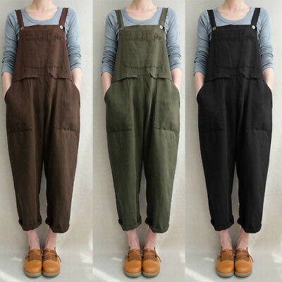 ZANZEA 8-24 Women Solid Basic Dungarees Suspenders Trousers Jumpsuit Overalls