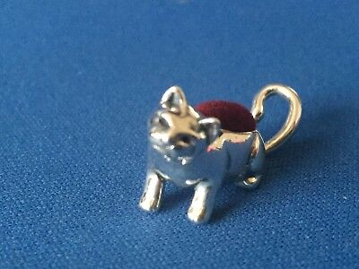 Victorian Style Cat Pin Cushion  Small Sterling Silver  .925