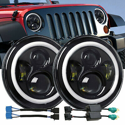 "Pair DOT 7"" Round CREE LED Headlight Hi/Low Beam For Jeep Wrangler JK TJ CJ"