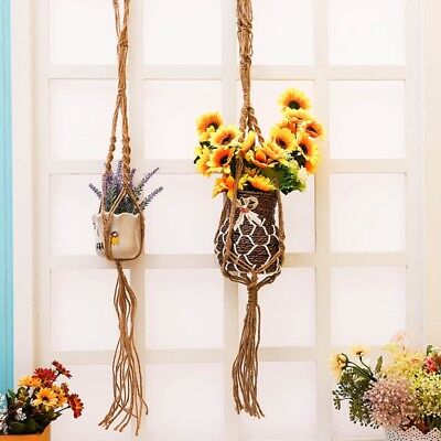 Pot Holder Macrame Plant Hanger Hanging Planter Basket Jute Hemp Rope Braided